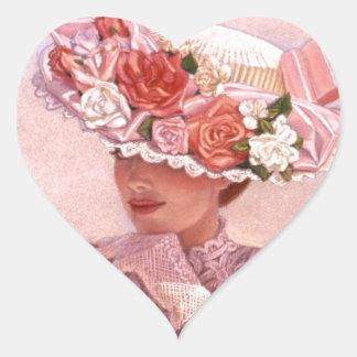 Señora romántica del Victorian Pegatina Corazón Personalizadas