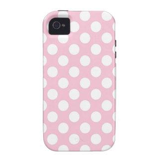 Señora rosada colección - puntos blancos grandes iPhone 4 fundas