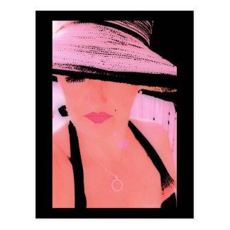 Señora rosada del gorra, postal