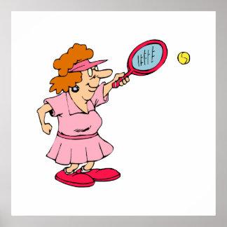 Señora rosada del tenis poster
