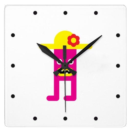 Señora rosada, gorra amarillo relojes de pared