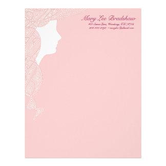 Señora rosada papel con membrete membrete