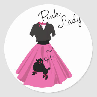 Señora rosada etiqueta redonda