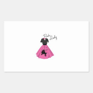 Señora rosada rectangular pegatina