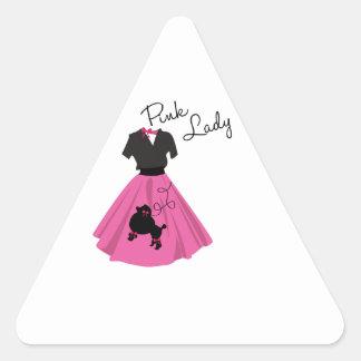Señora rosada pegatina trianguladas personalizadas