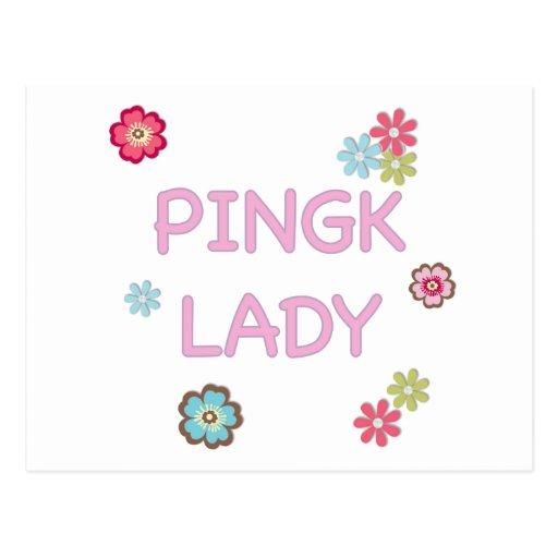 Señora rosada ping-pong postales
