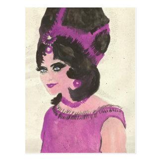 Señora rosada postal