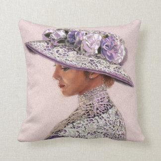 Señora Rose Hat del Victorian del cordón de la lav Almohadas