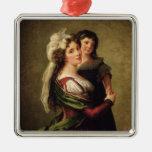 Señora Rousseau y su hija, 1789 Adorno Navideño Cuadrado De Metal