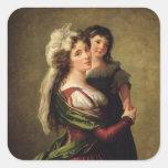 Señora Rousseau y su hija, 1789 Pegatina Cuadrada