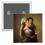Señora Rousseau y su hija, 1789 Pin Cuadrado
