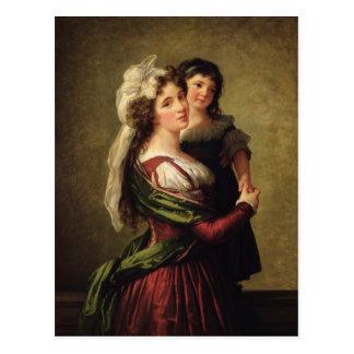 Señora Rousseau y su hija, 1789 Postal