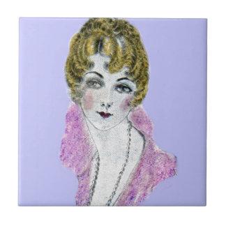 señora rubia bonita de los años 20 azulejo cuadrado pequeño