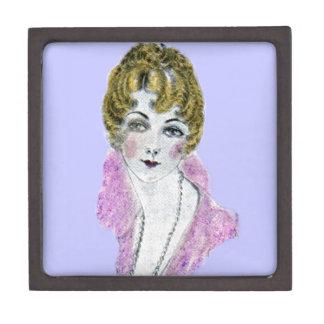 señora rubia bonita de los años 20 caja de joyas de calidad