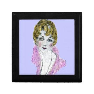 señora rubia bonita de los años 20 joyero cuadrado pequeño