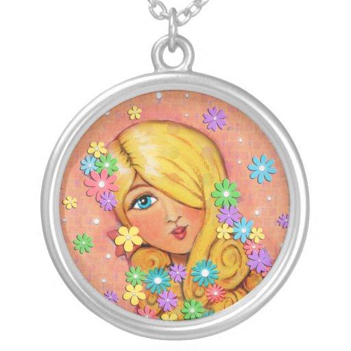 Señora rubia Necklace de la belleza y del amor Grímpola