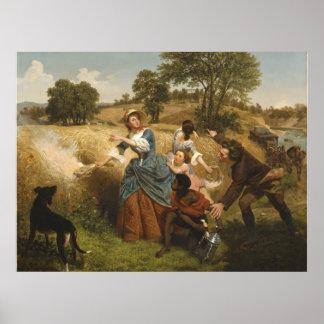 Señora Schuyler Burning Her Fields - Leutze (1852) Póster