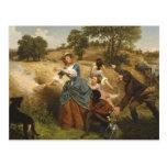 Señora Schuyler Burning Her Fields - Leutze (1852) Postal