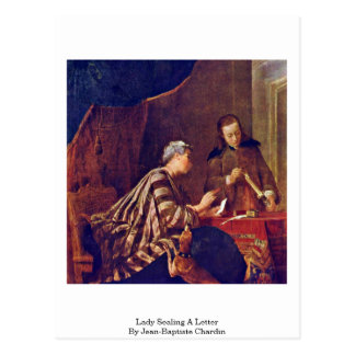 Señora Sealing A Letter By Jean-Baptiste Chardin Tarjetas Postales