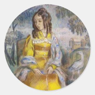 Señora Seated de Musatov- del vencedor, con una Pegatina Redonda
