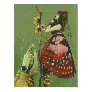 Señora severa gótica Postcard de la polilla Postal