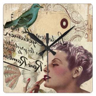 señora shabbychic de París del vintage del collage Reloj Cuadrado