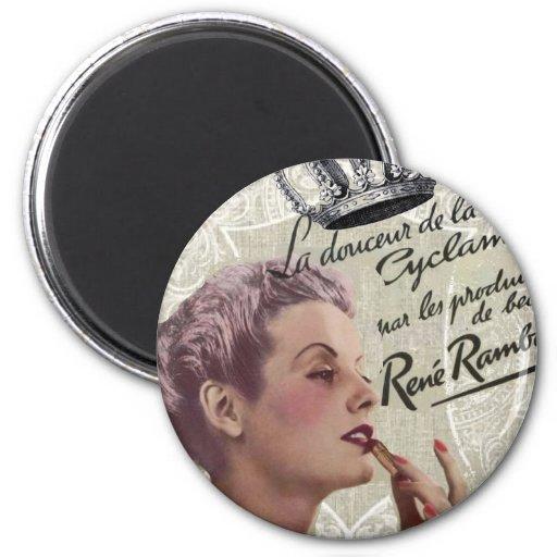señora shabbychic Fashion de París del vintage de  Imán Redondo 5 Cm