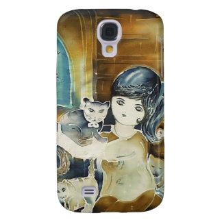 Señora Silk Art Painting del gato Carcasa Para Galaxy S4