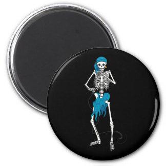 Señora Skeleton Singer Imán Para Frigorífico