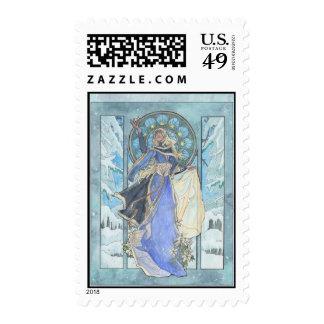 Señora Snowflake Postage Sellos