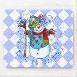 Señora Snowman de la nieve Alfombrillas De Raton