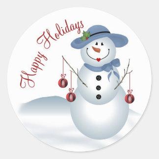 Señora Snowman Sticker Etiqueta Redonda