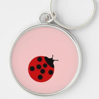 Señora solitaria Bug Keychain Llavero Redondo Plateado