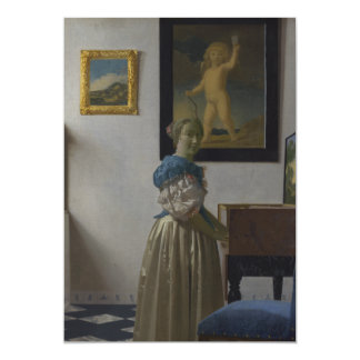Señora Standing en un Virginal de Juan Vermeer Comunicado Personalizado