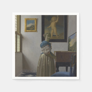 Señora Standing en un Virginal de Juan Vermeer Servilletas De Papel