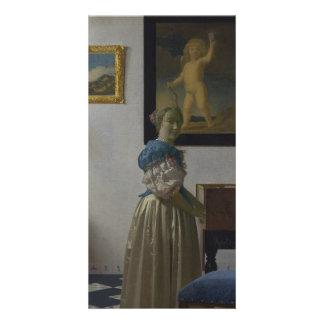Señora Standing en un Virginal de Juan Vermeer Tarjeta Personal