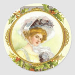 Señora Sticker del Victorian Etiqueta Redonda