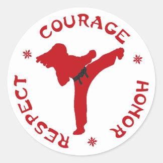 Señora Stickers del respecto del honor del valor Pegatina Redonda
