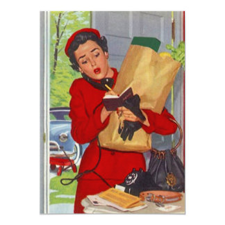 "Señora suburbana ocupada Burbs Blank Invitation Invitación 5"" X 7"""