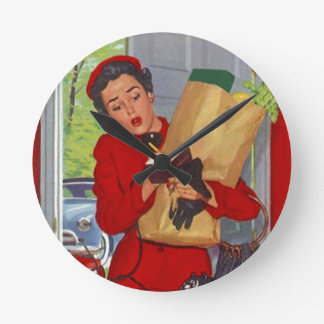 Señora suburbana retra Gift Clock Vintage de Burbs Reloj Redondo Mediano