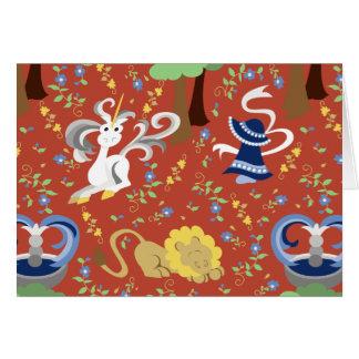 Señora Sunbonnet Sue y la tapicería del unicornio Felicitaciones
