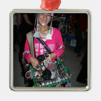 Señora tailandesa Selling Stuff Adorno Navideño Cuadrado De Metal