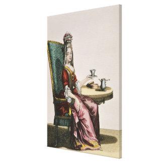 Señora Taking Coffee, placa de moda, c.1695 (engra Lona Envuelta Para Galerías