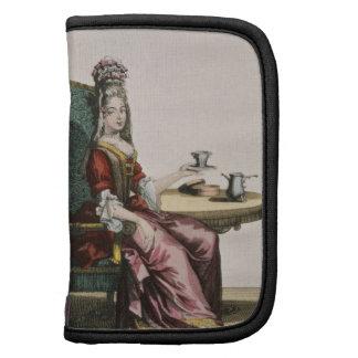 Señora Taking Coffee, placa de moda, c.1695 (engra Organizador