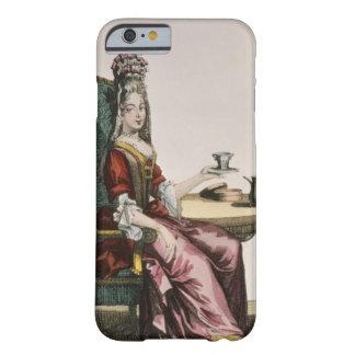 Señora Taking Coffee, placa de moda, c.1695 Funda De iPhone 6 Barely There