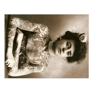 Señora tatuada con el circo del vintage de la tarjetas postales