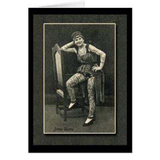Señora tatuada vintage Card o postal Tarjeta