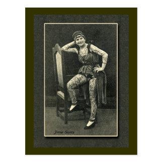 Señora tatuada vintage Card o postal