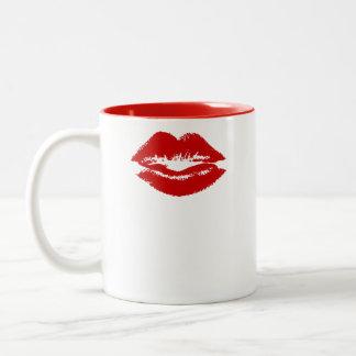 Señora taza - mitad de los labios de Sr. y señora