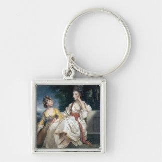 Señora Thrale y su hija Hester 1777-78 Llavero Cuadrado Plateado